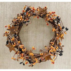 """Fall Harvest Orange and Black Pip Berry 8"""" Ring Wi"""